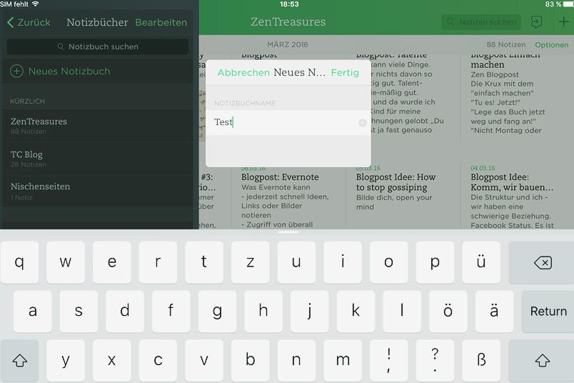 Evernote: Neues Notizbuch anlegen - Zentreasures.de