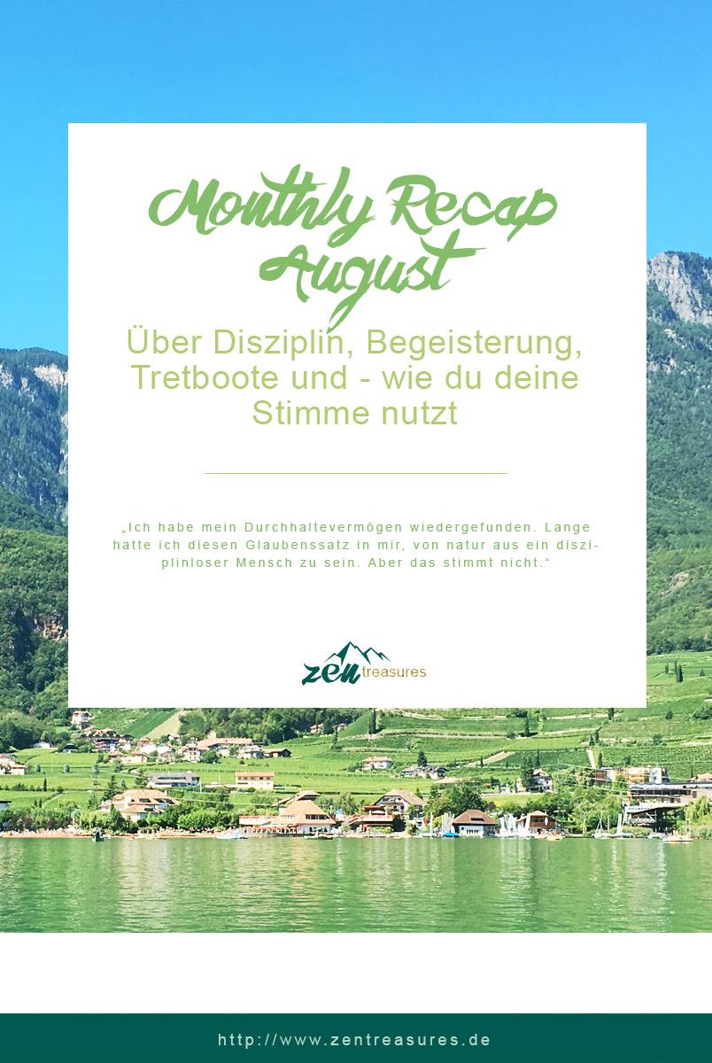 Der Monatsrückblick für August 2017. Teile diesen Beitrag gerne bei Pinterest, wenn er dir gefallen hat! ZENtreasures.de