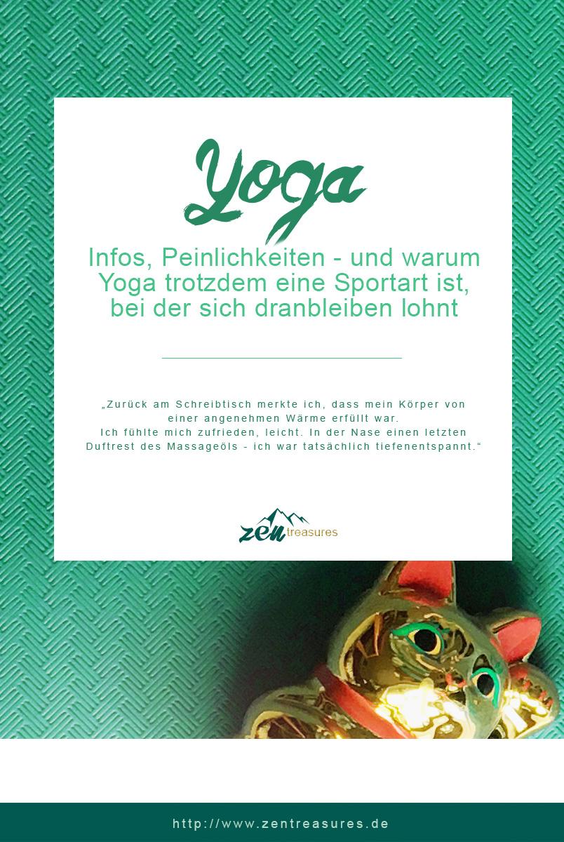 Yoga für Anfänger. Bild einer grünen Yogamatte mit einer Winkekatze. ZENtreasures.de