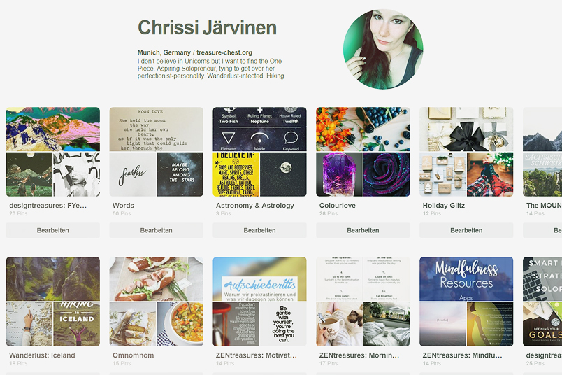 Motivation, Aesthethics und Design gibt es bei chrissitreasure@pinterest