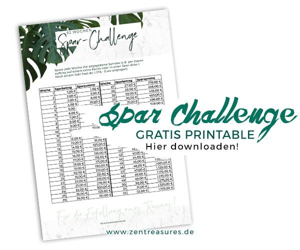 52 Wochen Spar Challenge von zentreasures.de